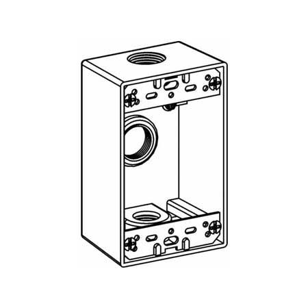 1/2″ Metallic Weatherproof Box, 3 Hole, Single Gang