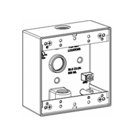 3/4″ Metallic Weatherproof Box, 3 Hole, Double Gang